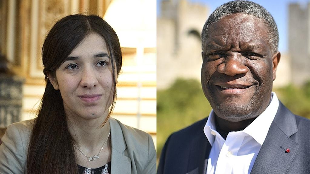 Bilden föreställer dem som ska få Nobels fredspris i år, Nadia Murad från Irak och Denis Mukwege från Kongo-Kinshasa.