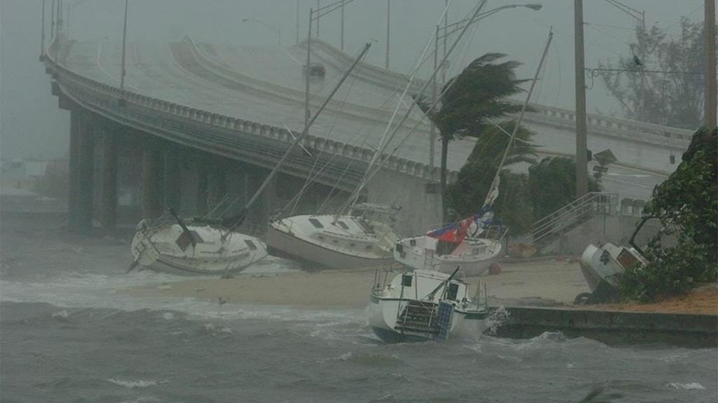 På bilden ser man hur det blåser och regnar med en motorväg i bakgrunden, och båtar som blåst upp på land.