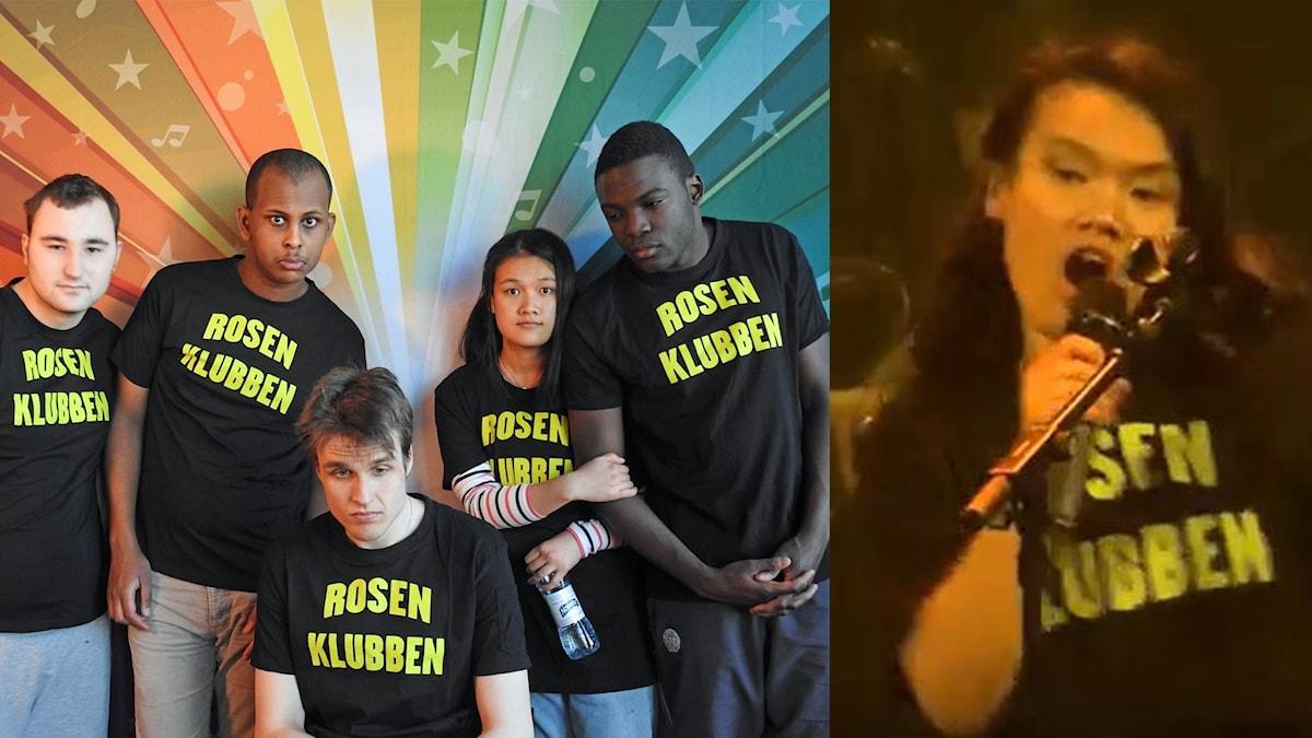 """De har svarta tröjor på sig där det står """"Rosenklubben""""."""
