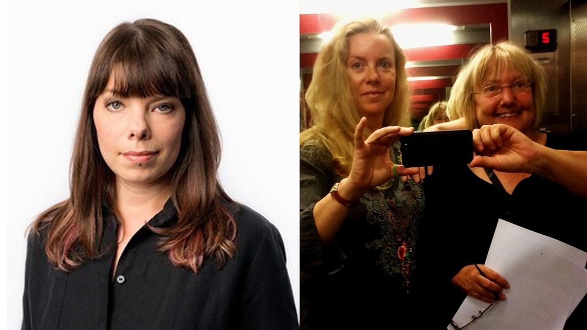 Ci Holmgren, Susanne Palme och Thella Johnson spelar in EU-podden Foto: Sveriges Radio