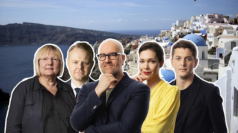 Susanne Palme, Björn Fägersten, Claes Aronsson, Caroline Salzinger och Filip Kotsambouikidis.
