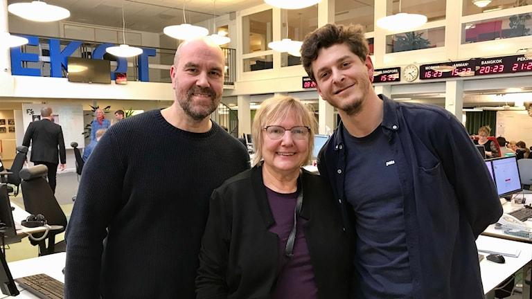 Claes Aronsson, Susanne Palme och Filip Kotsamboukidis.