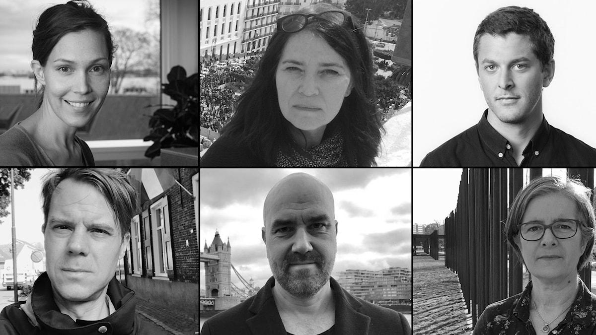 """Korredagen 2019, bild till podden """"Europapodden"""". Caroline Salzinger, Margareta Svensson, Filip Kotsambouikidis, Andreas Liljeheden, Claes Aronsson, Daniela Marquart."""