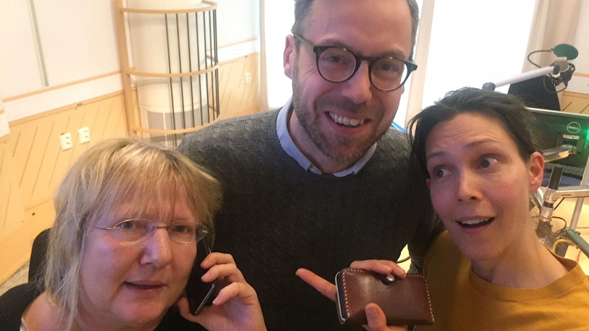Susanne Palme, Niklas Bremberg och Caroline Salzinger. Foto: Richard Myrenberg/SR