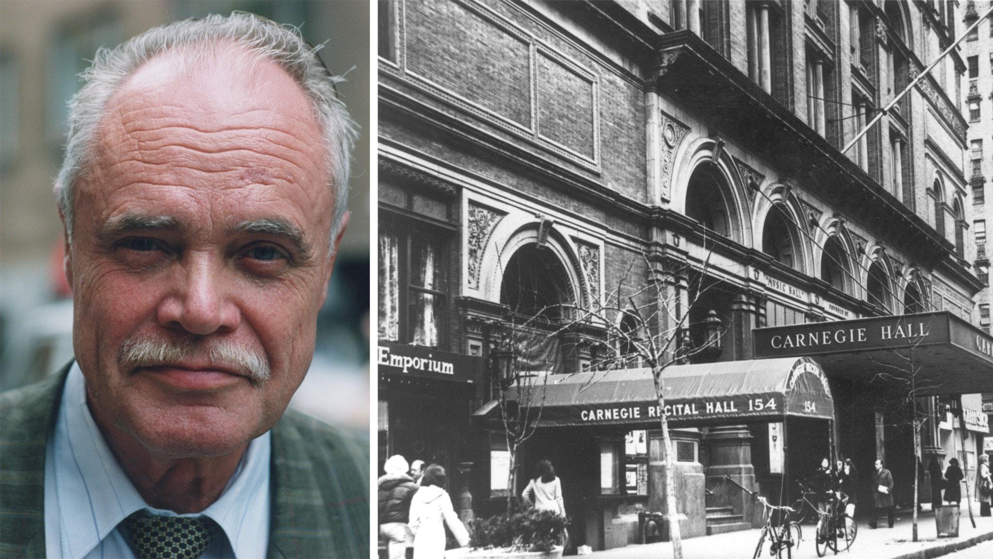 Leif Anderson och exteriör svart-vit bild på Carnegie Hall