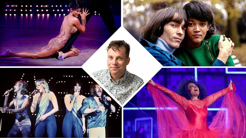 Alma Cogan, Svenne och Lotta, ABBA, Diana Ross och i mitten Henrik Olsson, collage