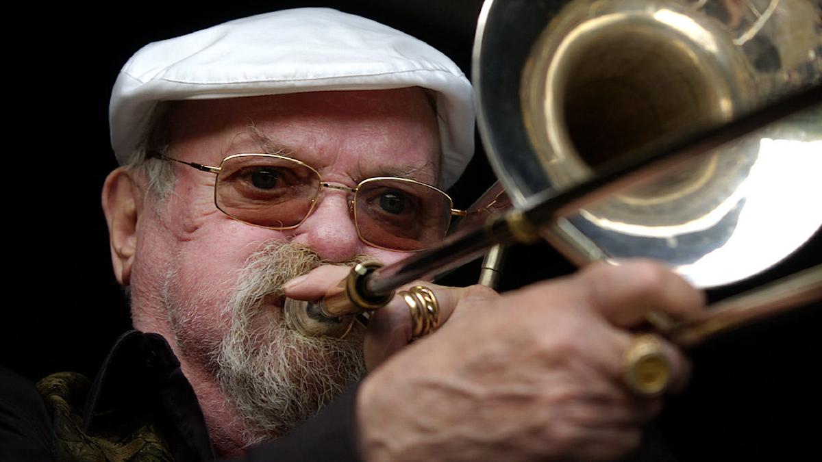 Danish trombonist and bandleader Arne Bue Jensen, known as Papa Bue, performs in Copenhagen.