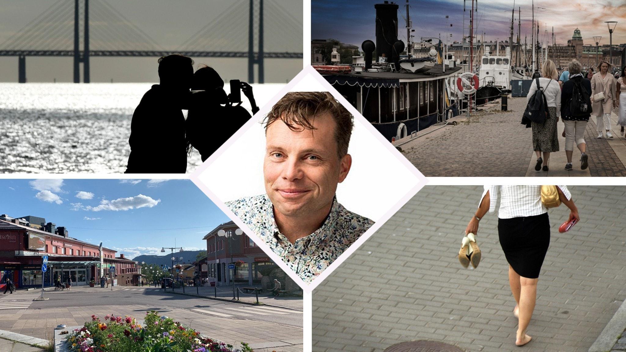Ett kollage av olika stadsbilder där folk vandrar och ett porträttfoto av Henrik Olsson