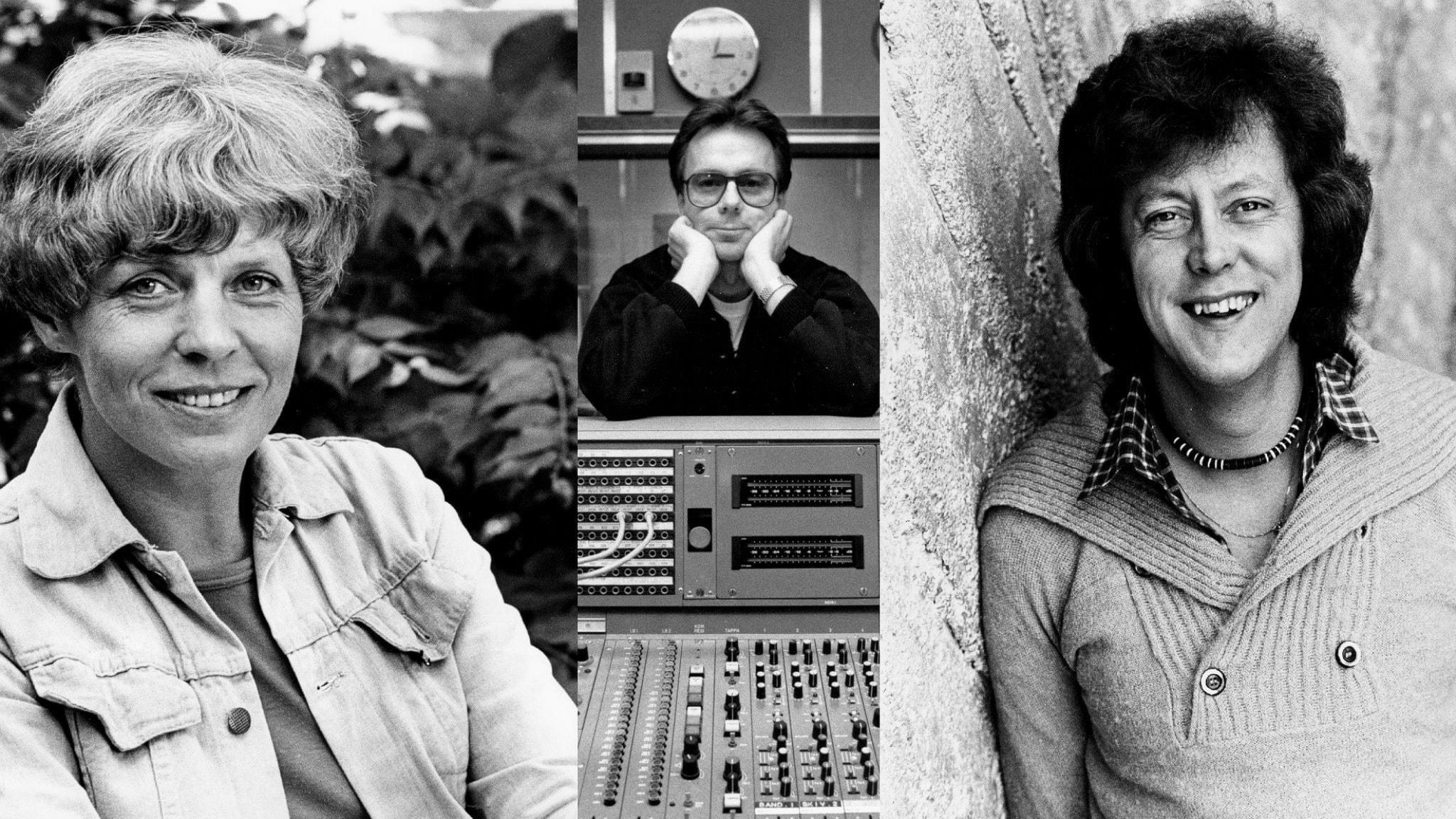 Ett svartvitt bildmontage på Alicia Lundberg Kaj Kindvall och Ulf Elfving. Samtliga bilder är från 70-talet. Kaj har ett mixerbord framför sig i mitten.