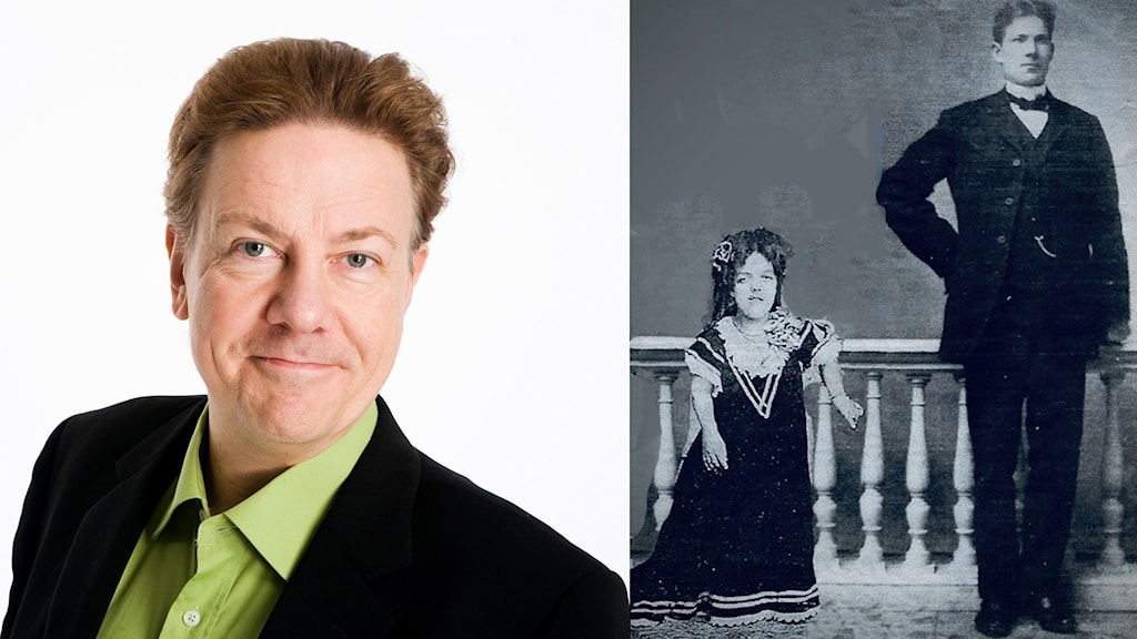 Anders Eldeman till vänster och Lilla Anna & Lars Dalabonde till höger. Ett gammalt medfaret svart-vitt foto som är ett montage med en mycket kort kvinna i långklänning och en lång man.