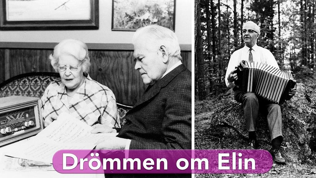 Elin Lilja, senare Nilsson med maken John Nilsson lyssnar på radio samt Calle Jularbo till höger, sitter i skogen med dragspel i famn.