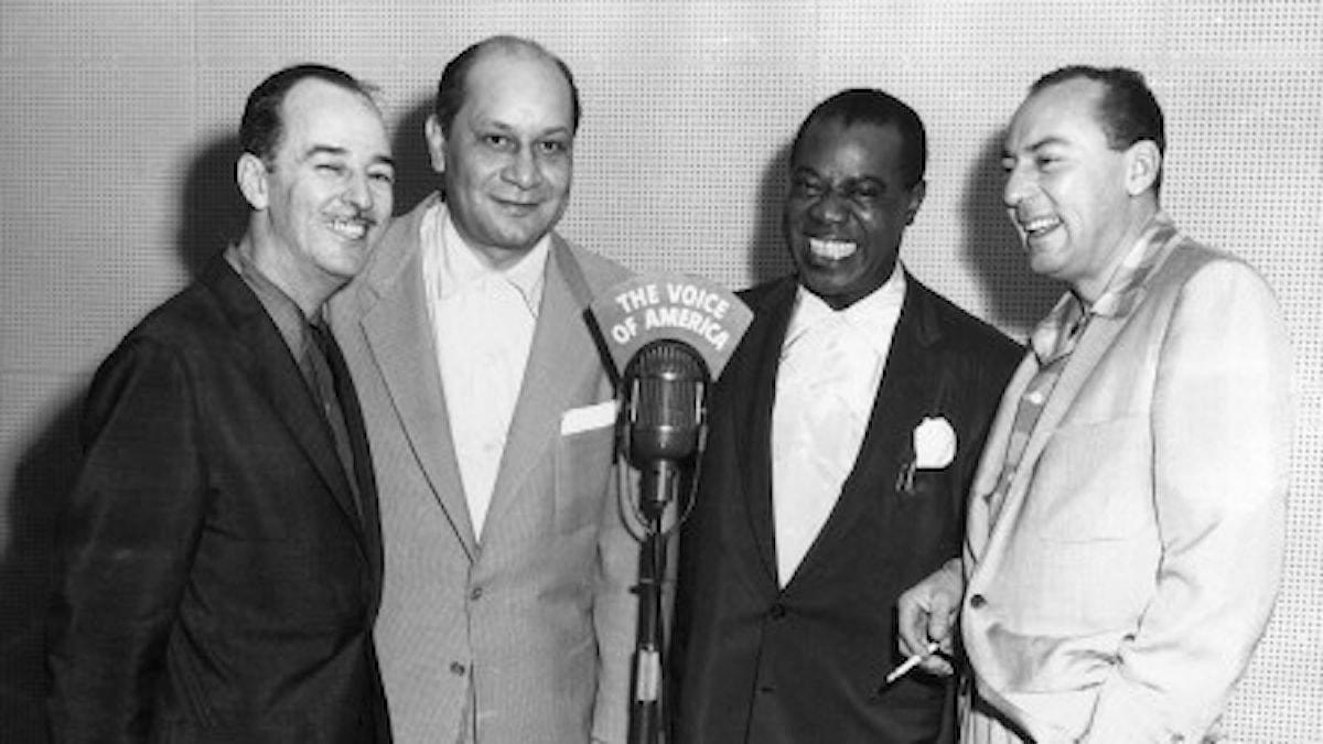 Bobby Hackett, Barney Bigard, Louis Armstrong and Woody Herman