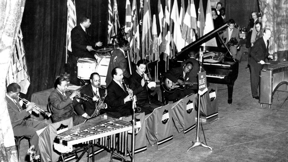 These jazz musicians banded together for Esquire's jazz concert at the Metropolitan Opera House on Jan. 18, 1944 in New York. The musicians on the stage are Louis Armstrong, Roy Eldridge, Coleman Hawkins, Barney Bigard, Jack Teagarden, and Al Casey. At drums, Sidney Catlett, Bass, Oscar Pettiford, Piano, Art Tatum, and xylophone, Red Norvo. (AP Photo)