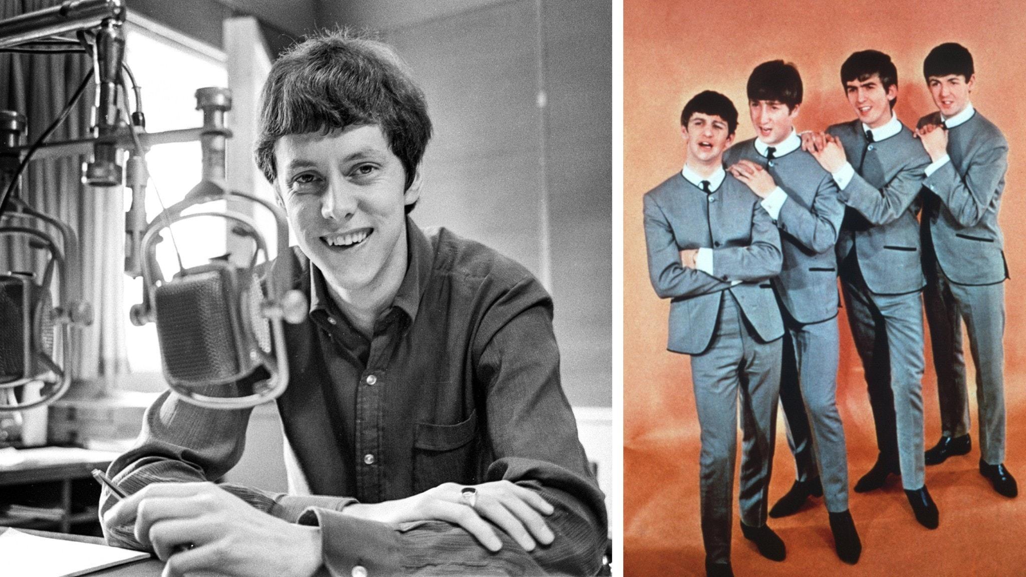 Ulf Elfving 1967 framför mikrofonen och The Beatles 1963