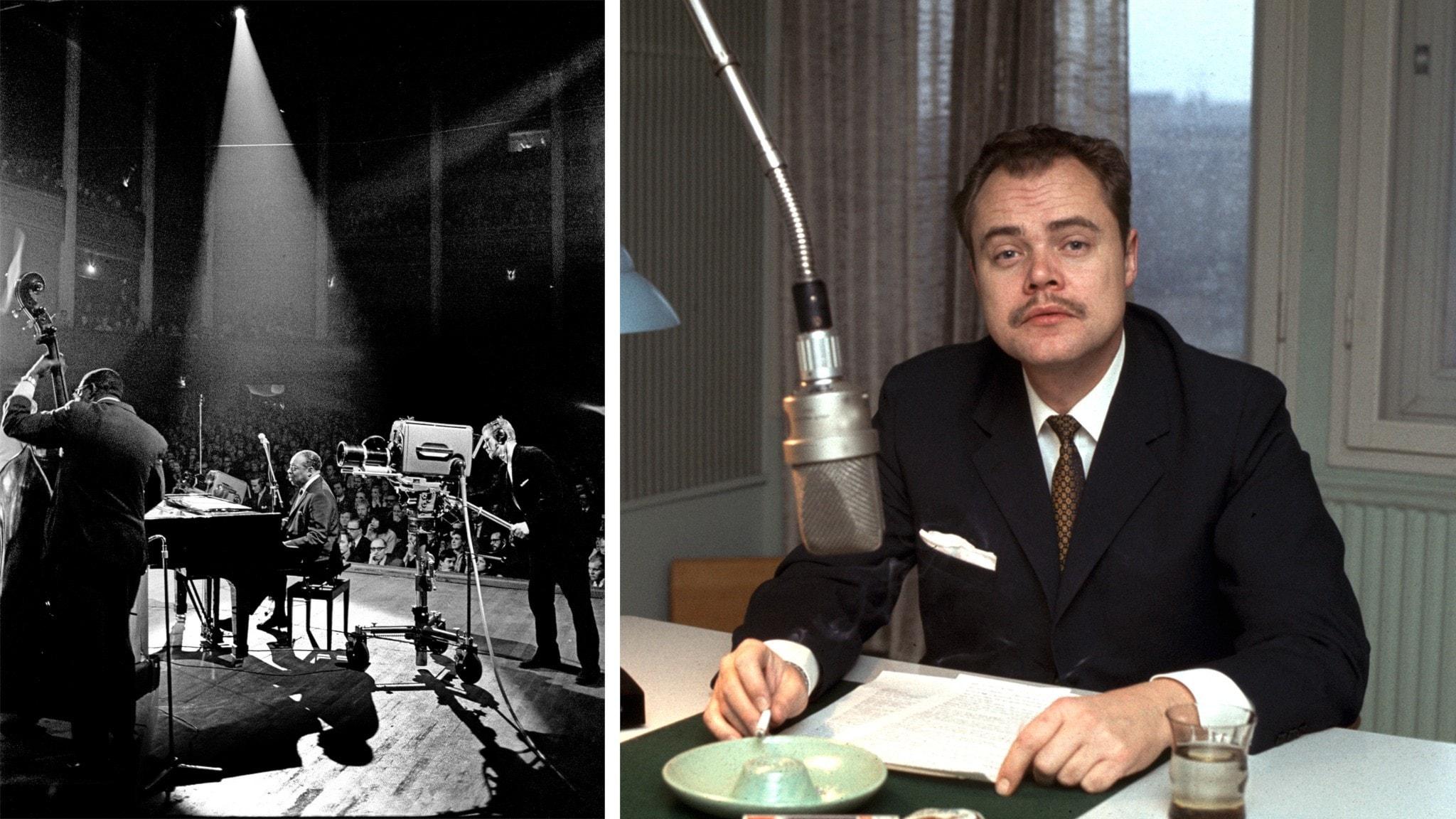 Count Basie på scen och Leif Anderson i radiostudio