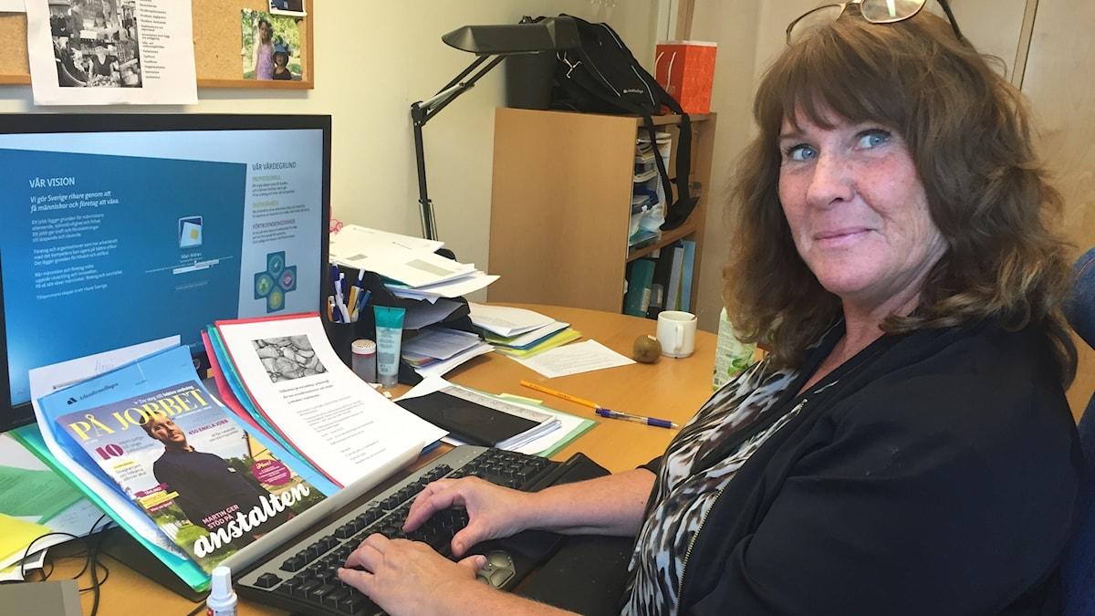 Mari Aldrev på jobbet