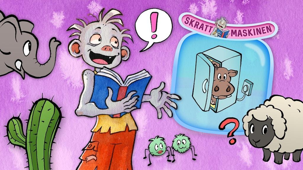 Skrattmaskinen huvudbild. Illustrationer: Stina Lövkvist och Mattias Stridbeck