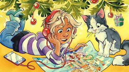 Ett barn och en katt som lyssnar på julkalendern. Illustration: Stina Lövkvist