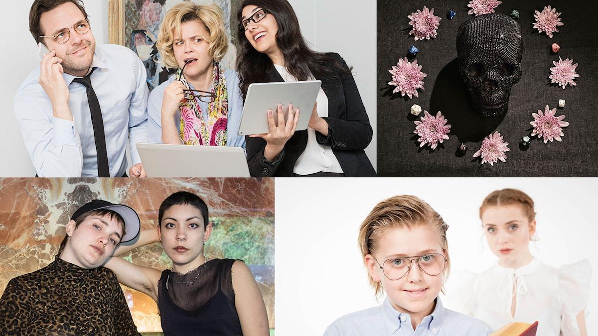Övre raden: Cheferna i P1 och De dödas röster, Foto: Mattias Ahlm/Sveriges Radio Nedre raden: Friend Crush och Den oändliga historien.
