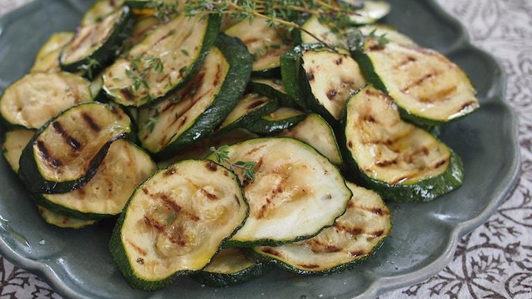 Grillad zucchini.