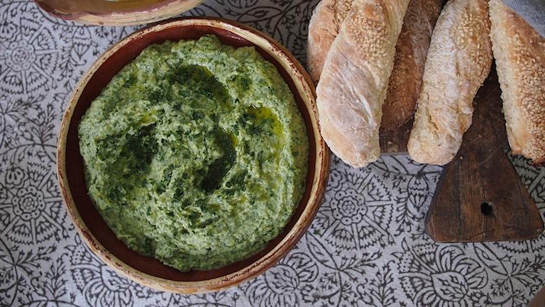 Grön hummus. Foto: Emma Janke