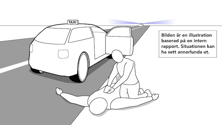 En illustration visar en man som ligger utanför en taxibil och får hjärt-lungräddning av föraren. I horisonten syns blåljus från en ambulans.