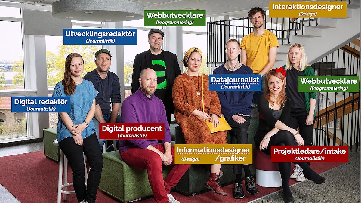 Nio personer på bild, iklädda de fyra grundfärgerna som motsvarar de fyra olika specialområdena i teamet