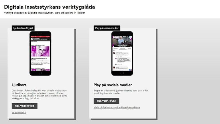 Screenshot av Digitala Insatsstyrkans verktygslåda