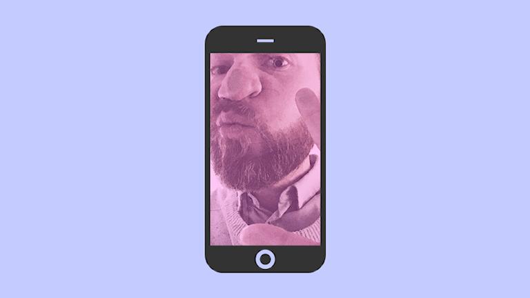 Ett ansikte pressas upp mot glaset i en smartphone.