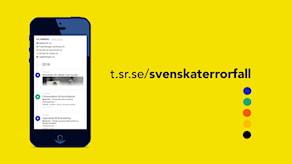 En mobil mot gul bakgrund visar tidslinjen. I text står kortlänken till sidan utskriven: t.sr.se/svenskterror.