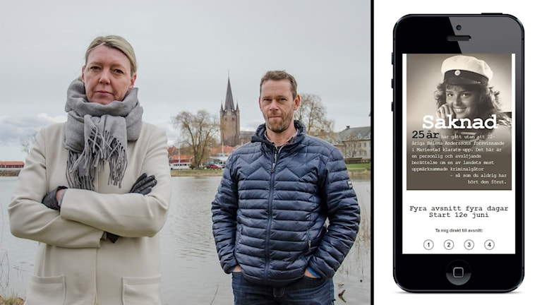 """Reportrar Pernilla Wadebäck och Mats Öfwerström vid en bild på en smartphone som visar sajten """"Fallet Helena""""."""