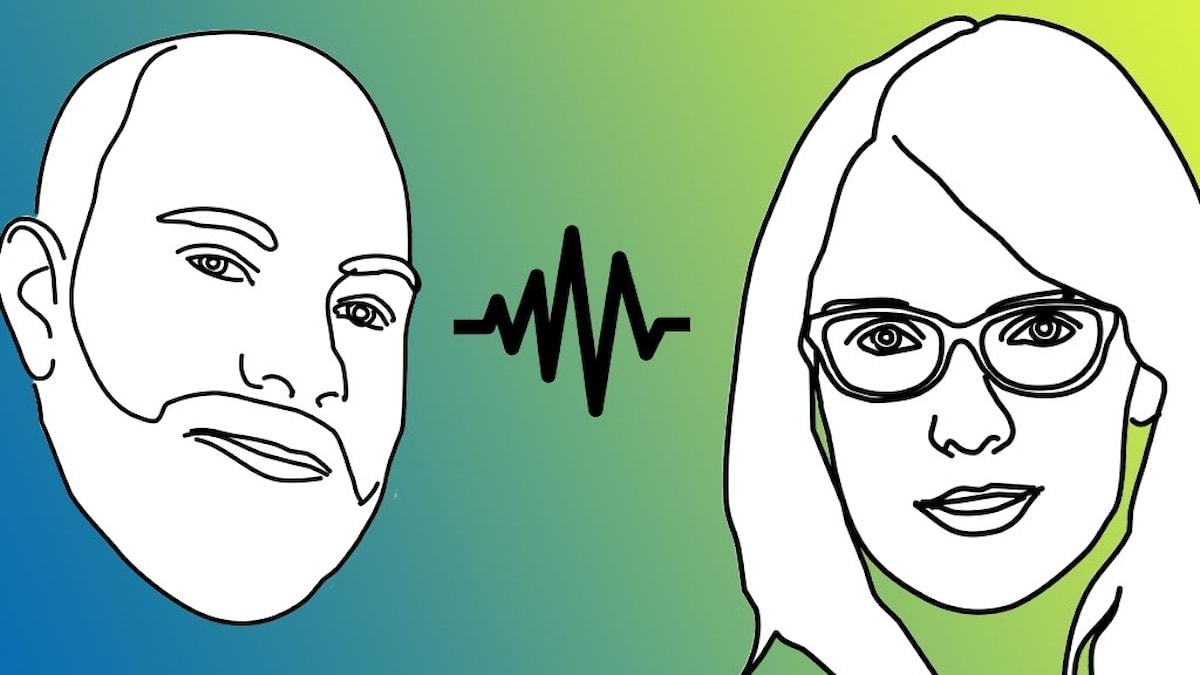 Tecknade bilder av Marcus Eriksson och Yasmine El Rafie.