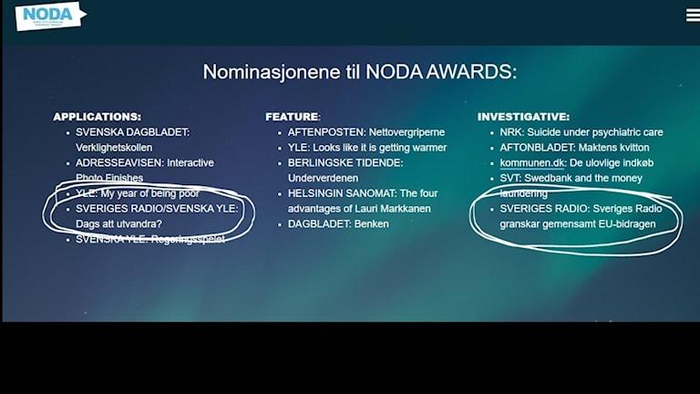 Text som listar 15 finalister till Noda awards från hemsidan noda.media