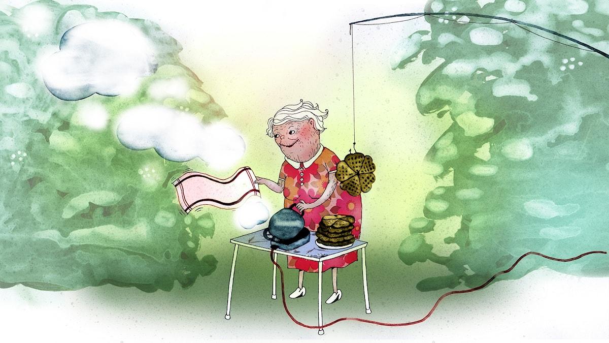 Våffelhjärtat del 7: Faster-farmors krigslist. Illustration: Lotta Geffenblad
