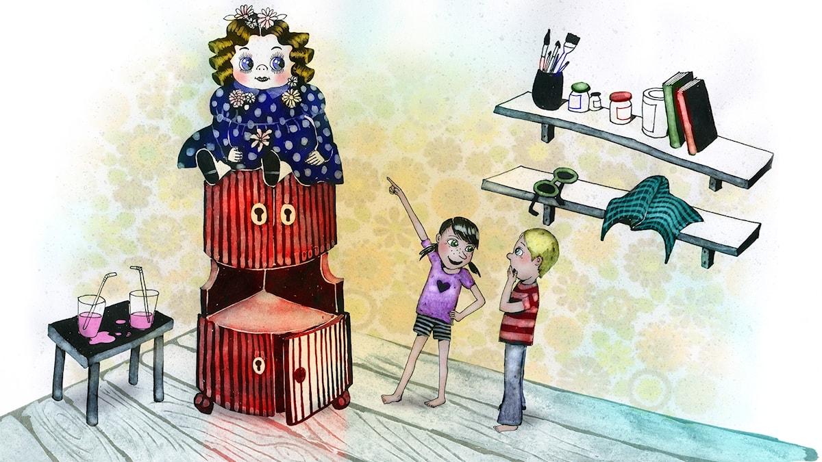 Våffelhjärtat del 2 av 20: Fixa häxa. Illustration: Lotta Geffenblad.
