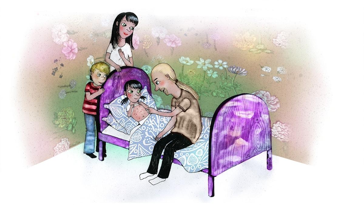 Våffelhjärtat del 8: En prickig födelsedag. Illustration: Lotta Geffenblad