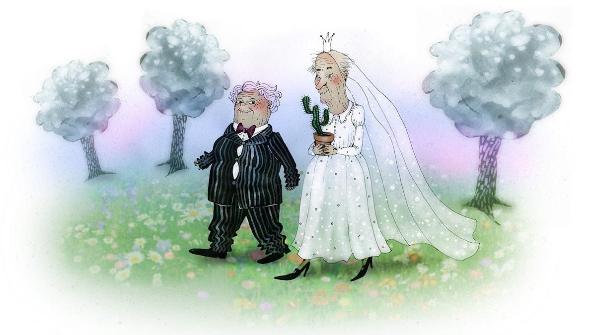 Våffelhjärtat avsnitt 3: Brudpar! Illustration: Lotta Geffenblad.