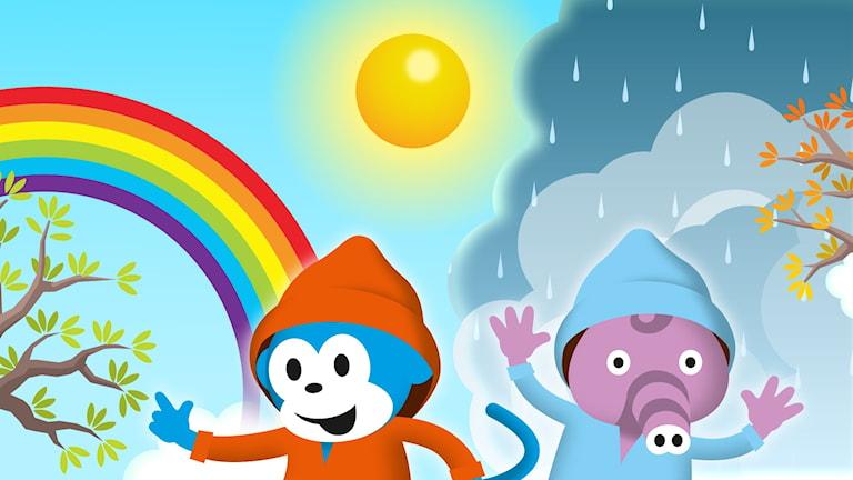 Radioapan sjunger sånger om väder. Solsken, halka och morgondagg!