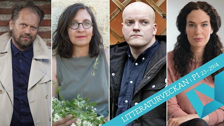 Författarna Stefan Lindberg, Caterina Pascual Söderbaum, Henrik Bromander och Therese Bohman är nominerade. Foto: Fredrik Hjerling/Steve Sem-Sandberg/Atlas/Norstedts/