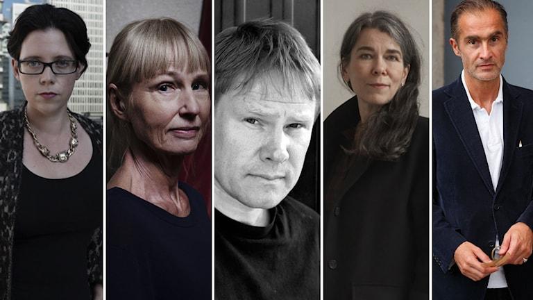 Elise Karlsson, Carola Hansson, Staffan Malmberg, Cilla Naumann, Aris Fioretos. Foto: Pressbilder