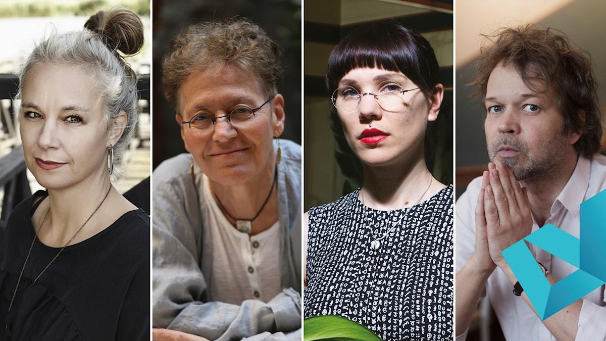 De nominerade författarna till Romanpriset 2019: Sara Stridsberg, Lena Einhorn, Lyra Koli och Tomas Bannerhed.
