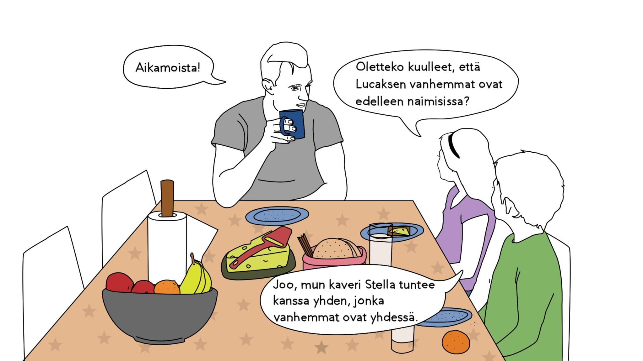 """Piirroskuva, jossa isä ja kaksi lasta istuvat aamiaspöydässä. Puhekuplissa vuoropuhelu: Tyttö: """"Oletteko kuulleet, että Lucaksen vanhemmat ovat yhä yhdessä"""" Poika: """"Mun kaveri Stella tuntee kanssa yhden, jonka vanhemmat on yhdessä"""" Isä: """"Aikamoista"""""""