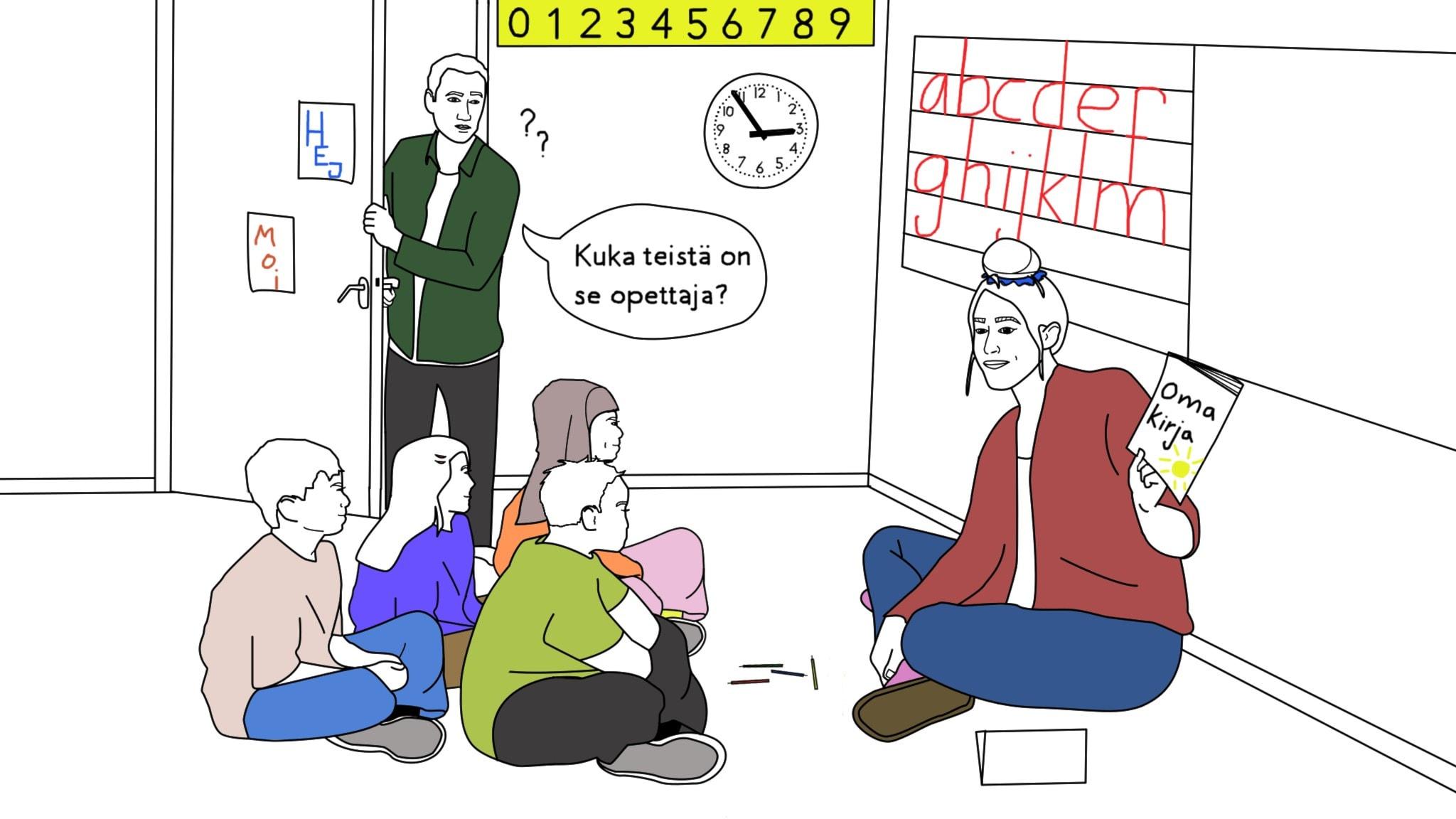 """Piirroskuva, jossa luokkahuoneessa ryhmä lapsia ja rennosti pukeutunut opettaja istuvat lattialla yhdessä, ovesta kurkistaa isä joka kysyy """"Kuka teistä on se opettaja?"""""""