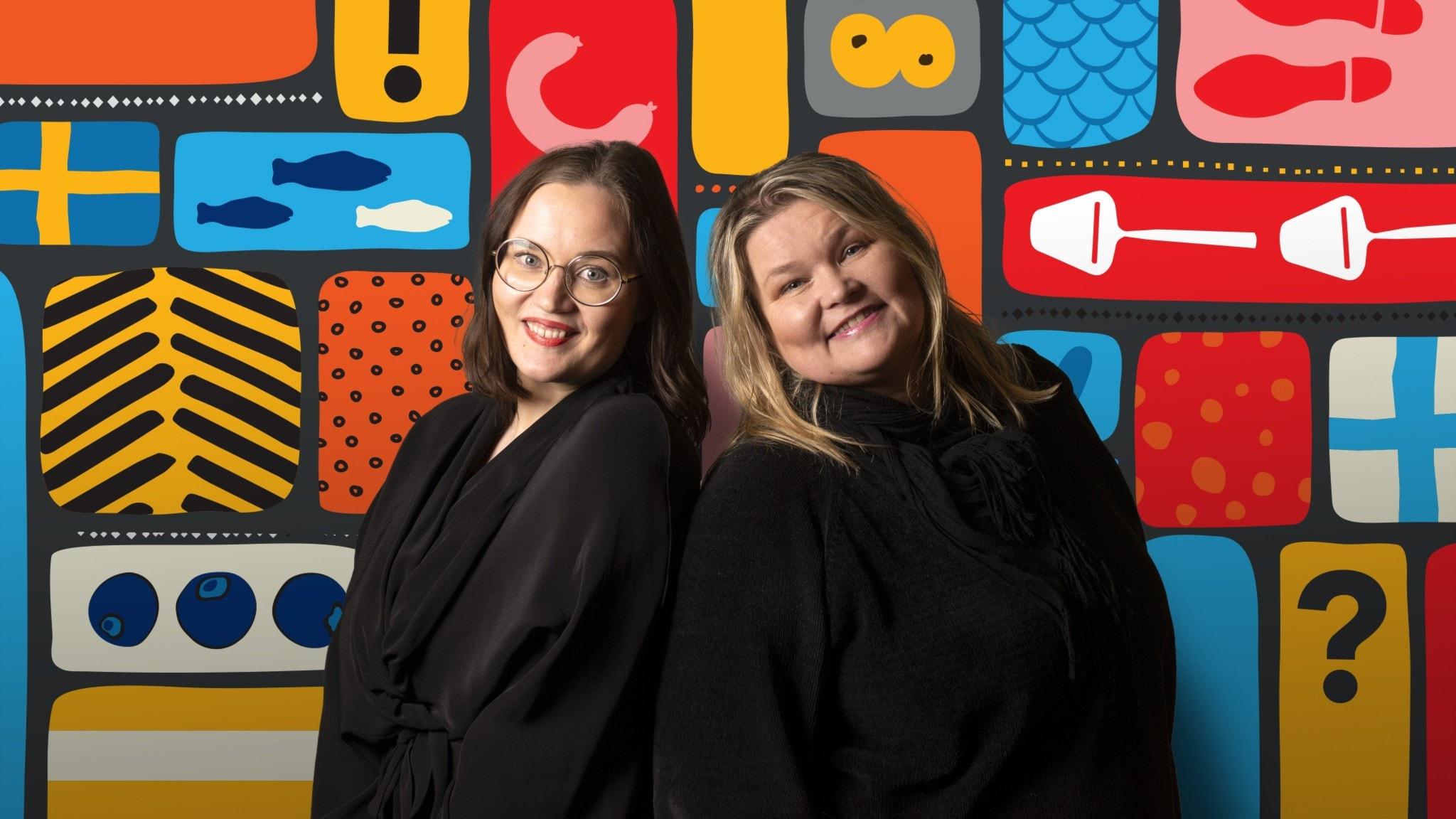 Ont i gurkan -sarjan juontajat Anni Riit'aho ja Pamela Taivassalo värikästä taustaa vasten