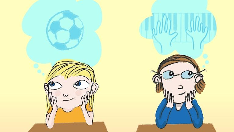 Dojjan börjar första klass och vill bli fotbollsproffs. Hennes kompis Mozart vill bli pianist.