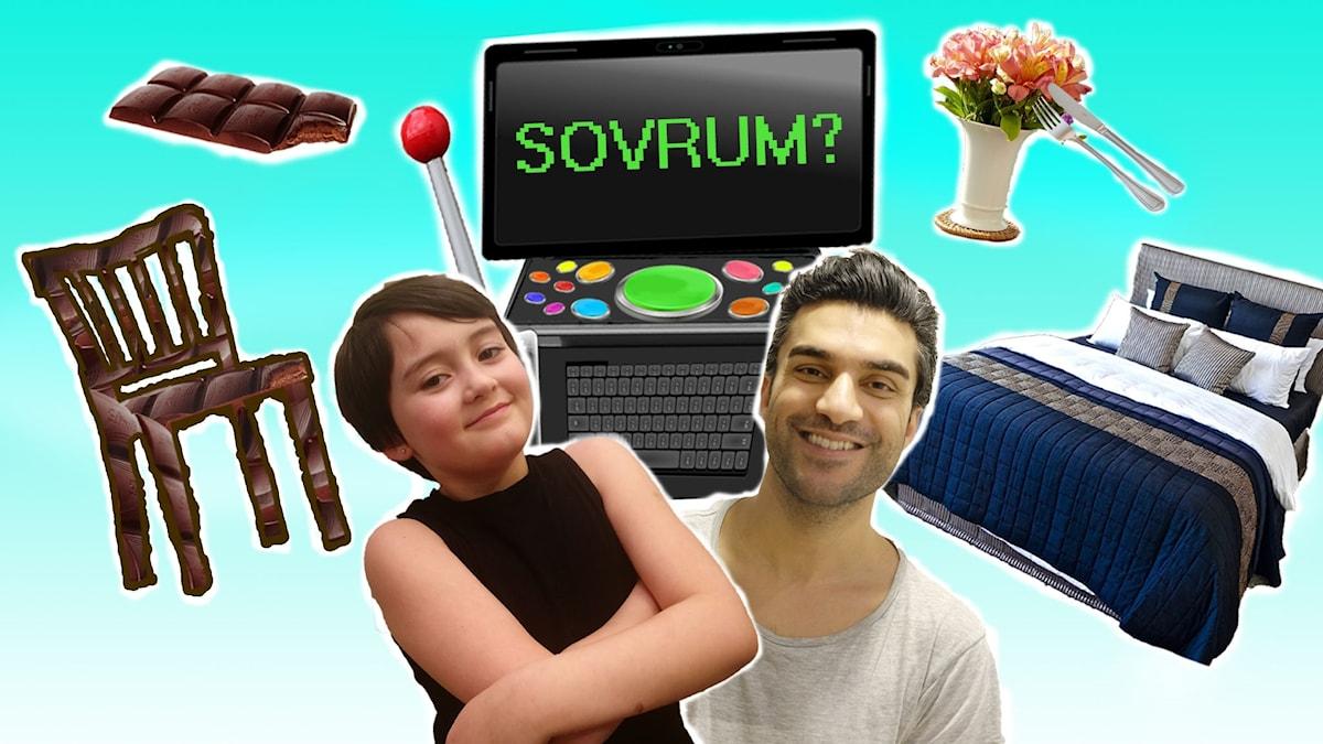 Farzad, Farzads framtidsdator med konstiga knappar, en stol av choklad, en chokladkaka, en blomvas med bestick över och en stor bäddad säng