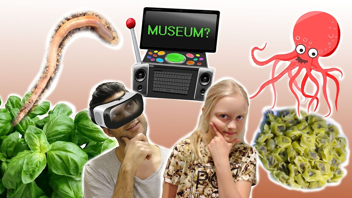 Farzad med VR-glasögon och framtidsfilosofen Nanna. I bakgrunden finns basilika, en jättestor daggmask, Farzads framtidsdator, en tecknad bläckfisk och en portion med tortellini.