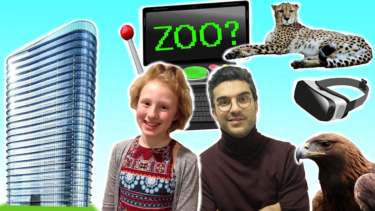 Klara, Farzad och Farzads framtidsdator. I bakgrunden ett höghus med massor av glas, en gepard, en kungsörn och ett par VR-glasögon.