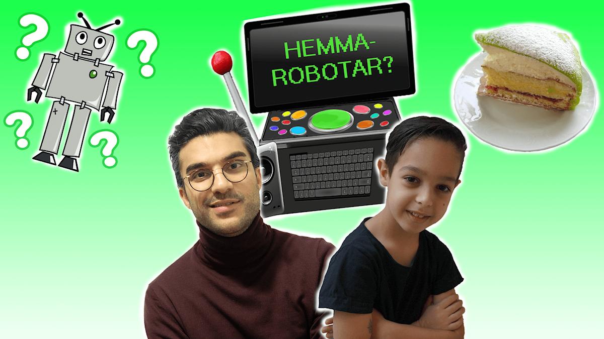 Farzad, Kevin, Farzads framtidsdator med konstiga knappar, en robot med frågetecken runt sig och en bit prinsesstårta.