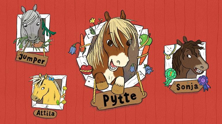 Ponnyn Pytte med sina kompisar. Illustration: Ingrid Flygare.